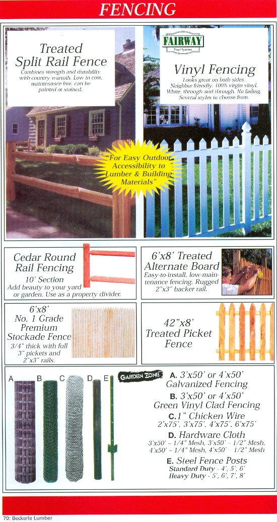 Beckerle Lumber Source Book - Fencing
