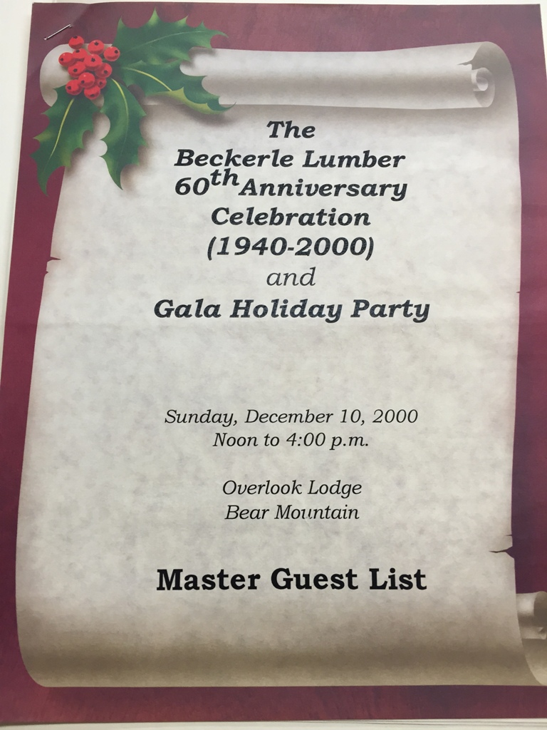 Beckerle lumber - Bear Mt Overlook Lodge                                    60th Anniversary