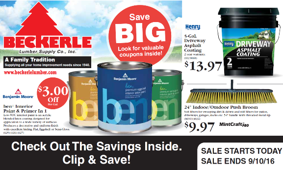BECKERLE LUMBER ONE WITH COUPONS                      HAPPY SAVINGS                       THANKS FOR YOUR SUPPORT  SALE GOOD UNTIL SEPT 10th