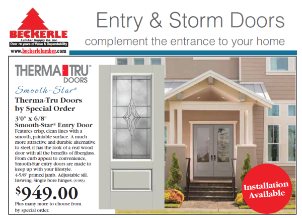 DOOR SALE: Time For A New FRONT Smooth Star Fiberglass Door? Beckerle  Lumber Is